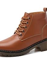 Недорогие -Жен. Fashion Boots Кожа Зима Классика / На каждый день Ботинки На толстом каблуке Сапоги до середины икры Черный / Коричневый