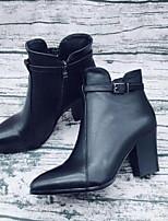 Недорогие -Жен. Fashion Boots Наппа Leather Зима Ботинки На толстом каблуке Закрытый мыс Ботинки Черный / Коричневый