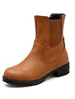 Недорогие -Жен. Комфортная обувь Полиуретан Наступила зима Ботинки На плоской подошве Черный / Желтый
