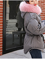 Недорогие -Жен. Повседневные Классический Однотонный Обычная Пуховик, Полиэфир Длинный рукав Капюшон Черный / Розовый / Серый M / L / XL