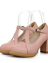 baratos -Mulheres Sapatos Confortáveis Couro Ecológico Verão Saltos Salto Robusto Branco / Preto / Rosa claro