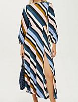 Недорогие -Жен. Классический С летящей юбкой Платье - Контрастных цветов Средней длины