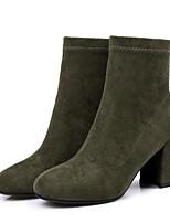 Недорогие -Жен. Fashion Boots Синтетика Осень Ботинки Блочная пятка Закрытый мыс Ботинки Черный / Желтый / Военно-зеленный