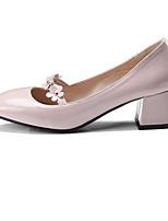 Недорогие -Жен. Балетки Микроволокно Весна Обувь на каблуках На толстом каблуке Черный / Розовый / Миндальный