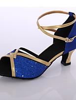 Недорогие -Жен. Обувь для латины Лакированная кожа На каблуках Планка Кубинский каблук Персонализируемая Танцевальная обувь Синий