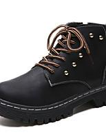 Недорогие -Жен. Fashion Boots Полиуретан Осень На каждый день Ботинки На толстом каблуке Круглый носок Сапоги до середины икры Черный / Коричневый / Хаки