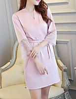 abordables -Chemises & Blouses Vêtement de nuit Femme - Dentelle, Couleur Pleine