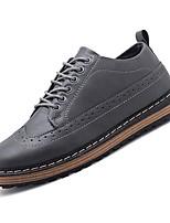 Недорогие -Муж. Комфортная обувь Полиуретан Осень На каждый день Туфли на шнуровке Нескользкий Черный / Серый / Коричневый