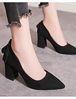 Недорогие -Жен. Комфортная обувь Замша Осень Обувь на каблуках На толстом каблуке Черный / Бежевый