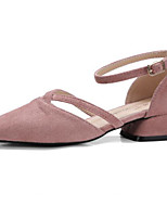 Недорогие -Жен. Комфортная обувь Замша Весна лето Обувь на каблуках На толстом каблуке Черный / Розовый / Миндальный