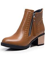 baratos -Mulheres Fashion Boots Couro Ecológico Outono Botas Salto Robusto Dedo Fechado Botas Curtas / Ankle Verde / Khaki / Vinho