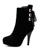 Недорогие -Жен. Fashion Boots Полиуретан Осень Ботинки На шпильке Закрытый мыс Ботинки Черный / Красный