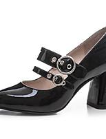 Недорогие -Жен. Комфортная обувь Наппа Leather Весна Обувь на каблуках На толстом каблуке Черный / Розовый