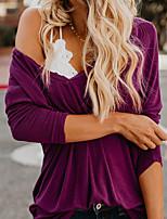 abordables -Tee-shirt Femme, Couleur Pleine Chic de Rue