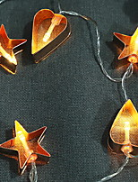 abordables -1.5m Guirlandes Lumineuses 10 LED Blanc Chaud Décorative Piles AA alimentées 1 set