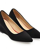 Недорогие -Жен. Комфортная обувь Замша Весна Обувь на каблуках Туфли на танкетке Черный / Серый / Красный