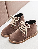 Недорогие -Девочки Обувь Кожа Наступила зима Армейские ботинки Ботинки Молнии для Дети Черный / Хаки
