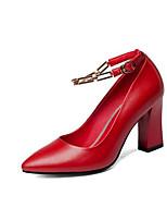 Недорогие -Жен. Комфортная обувь Наппа Leather Весна Обувь на каблуках На толстом каблуке Черный / Красный