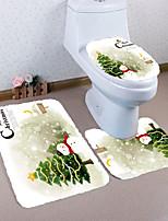 Недорогие -3 предмета Modern Коврики для ванны 100 г / м2 полиэфирный стреч-трикотаж Цветочный принт Прямоугольная Ванная комната Противоскользящий