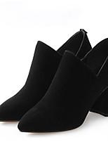 Недорогие -Жен. Fashion Boots Замша Весна Ботинки На толстом каблуке Закрытый мыс Ботинки Черный / Коричневый / Телесный