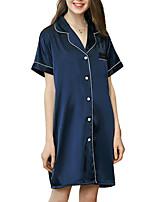 abordables -Col de Chemise Satin & Soie Pyjamas Femme Couleur Pleine