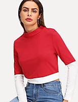 Недорогие -женская тощая футболка - сплошной цветной шею