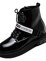 Недорогие -Жен. Армейские ботинки Полиуретан Осень На каждый день Ботинки На низком каблуке Круглый носок Сапоги до середины икры Черный / Лозунг