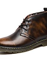 Недорогие -Муж. Fashion Boots Кожа Зима Классика / Винтаж Ботинки Сохраняет тепло Сапоги до середины икры Серый / Коричневый / Винный