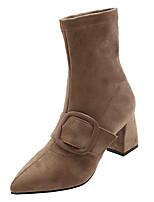 Недорогие -Жен. Fashion Boots Полиуретан Осень На каждый день Ботинки Блочная пятка Заостренный носок Сапоги до середины икры Черный / Хаки