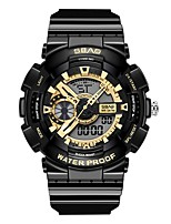 Недорогие -Муж. Спортивные часы Японский Цифровой 30 m Защита от влаги Календарь Секундомер PU Группа Аналого-цифровые Блестящие Мода Черный / Белый - Белый Черный Черный и золотой Два года Срок службы батареи