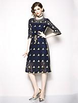 Недорогие -Жен. Изысканный / Элегантный стиль А-силуэт Платье - Цветочный принт, Кружева / Вышивка Средней длины