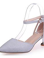 Недорогие -Жен. Комфортная обувь Полиуретан Лето Обувь на каблуках На шпильке Золотой / Серебряный