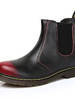 baratos -Mulheres Fashion Boots Pele Inverno Vintage / Casual Botas Sem Salto Botas Cano Médio Preto / Vinho