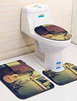 baratos -3 Peças Modern Tapetes Anti-Derrapantes Poliéster Elástico Tricotado 100g / m2 Geométrica Irregular Banheiro Legal