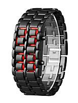 Недорогие -Муж. электронные часы Кварцевый 30 m ЖК экран сплав Группа Цифровой На каждый день Мода Черный - Оранжевый / черный Серебристый / Синий Серебристый / Красный