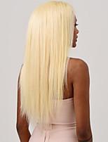 Недорогие -Натуральные волосы Полностью ленточные Парик Индийские волосы Шелковисто-прямые Золотистый Парик Ассиметричная стрижка 130% Плотность волос / с детскими волосами