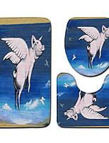 Недорогие -3 предмета Мультяшная тематика / Традиционный Коврики для ванны 100 г / м2 полиэфирный стреч-трикотаж Животное нерегулярный Ванная комната Новый дизайн