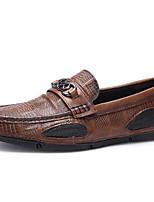 Недорогие -Муж. Кожаные ботинки Наппа Leather Весна На каждый день / Английский Мокасины и Свитер Водостойкий Серый / Коричневый / Вино