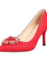 baratos -Mulheres Sapatos Confortáveis Camurça Outono Sapatos De Casamento Salto Agulha Vermelho
