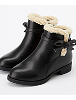 Недорогие -Девочки Обувь Кожа Зима Модная обувь Ботинки Бант / Молнии для Дети Черный / Вино