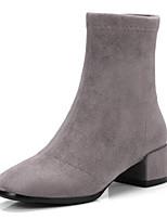 Недорогие -Жен. Fashion Boots Эластичная ткань Зима Ботинки На толстом каблуке Закрытый мыс Ботинки Черный / Серый