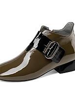 Недорогие -Жен. Fashion Boots Наппа Leather Осень Ботинки На низком каблуке Закрытый мыс Ботинки Черный / Военно-зеленный