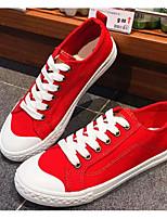 Недорогие -Жен. Комфортная обувь Полотно Весна & осень Кеды На плоской подошве Белый / Черный / Красный