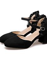 Недорогие -Жен. Комфортная обувь Замша Лето Обувь на каблуках На толстом каблуке Черный / Бежевый / Розовый