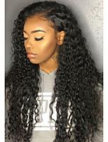 billiga -Syntetiska snörning framifrån Lockigt Frisyr i lager Syntetiskt hår 26 tum med babyhår / Heta Försäljning / Naturlig hårlinje Svart Peruk Dam Lång Spetsfront Svart / Afro-amerikansk peruk