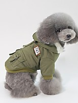 baratos -Cachorros / Gatos Jaqueta Roupas para Cães Sólido Cinzento / Marron / Verde Algodão Ocasiões Especiais Para animais de estimação Unisexo Lazer / Minimalista
