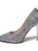 Недорогие -Жен. Балетки Синтетика Зима Обувь на каблуках На шпильке Белый / Серебряный / Темно-лиловый: