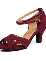 """Недорогие -Жен. Обувь для латины Замша На каблуках Планка Каблук """"Клеш"""" Танцевальная обувь Темно-красный / Зеленый"""