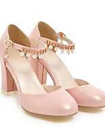 Недорогие -Жен. Балетки Полиуретан Весна Обувь на каблуках На толстом каблуке Белый / Черный / Розовый