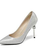 Недорогие -Жен. Комфортная обувь Наппа Leather Осень Обувь на каблуках На шпильке Черный / Серебряный / Красный
